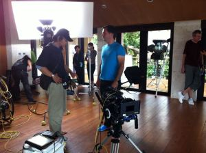 Behind the scenes: 1st assistant director Masato Tanno and Director of Photography Michel St-Martin prepare for shooting